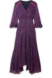 Saloni   Edith polka-dot flocked silk-blend chiffon midi dress at Net A Porter