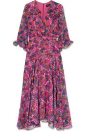 Saloni   Edith ruffled floral-print silk-chiffon midi dress at Net A Porter
