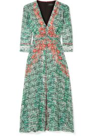 Saloni   Eve printed silk crepe de chine midi dress at Net A Porter