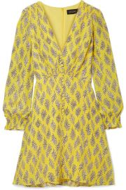 Saloni - Eve printed silk crepe de chine mini dress at Net A Porter
