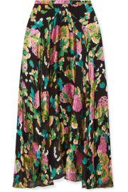 Saloni - Ida floral-print devor   silk-blend satin midi skirt at Net A Porter
