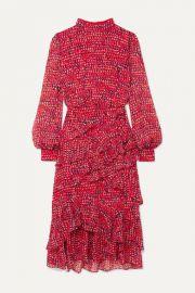 Saloni - Isa ruffled printed silk-chiffon midi dress at Net A Porter
