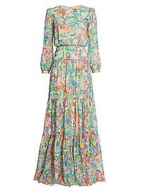 Saloni - Isabel Silk Georgette Maxi Dress at Saks Fifth Avenue