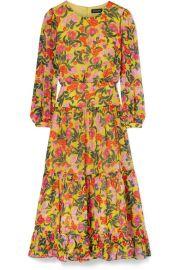 Saloni   Isabel floral-print silk-chiffon midi dress at Net A Porter