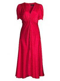 Saloni - Lea Floral Silk Jacquard A-Line Dress at Saks Fifth Avenue