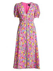 Saloni - Lea Lemon Silk A-Line Midi Dress at Saks Fifth Avenue