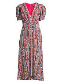 Saloni - Lea Puff-Sleeve Silk Dress at Saks Fifth Avenue