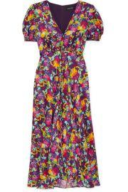 Saloni - Lea floral-print silk crepe de chine dress at Net A Porter
