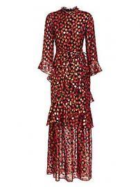 Saloni - Marissa Print Bell-Sleeve Flounce Dress at Saks Fifth Avenue