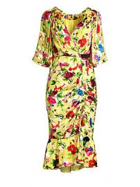 Saloni - Olivia Floral Midi Wrap Dress at Saks Fifth Avenue