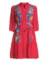 Saloni - Silk Floral Dot Shirtdress at Saks Fifth Avenue