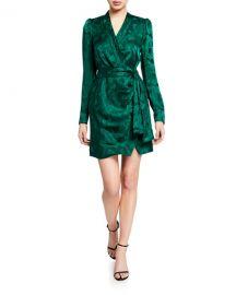 Saloni Bibi Long-Sleeve Mini Wrap Dress at Neiman Marcus