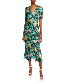 Saloni Eden Front-Slit Silk Floral Midi Dress at Neiman Marcus