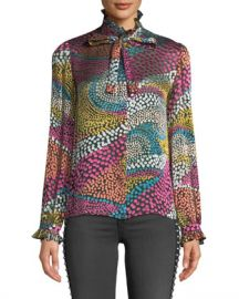 Saloni Emile Silky Floral-Print Button-Front Top at Neiman Marcus
