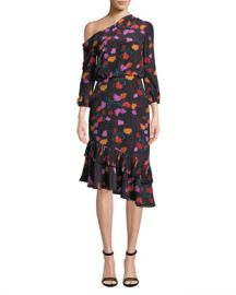 Saloni Lexie Off-the-Shoulder Floral-Print Silk Dress at Neiman Marcus