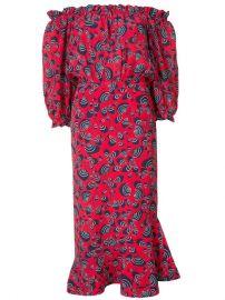 Saloni Off Shoulder Printed Dress at Farfetch