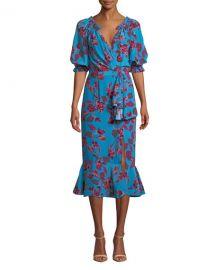 Saloni Olivia Velvet Burnout Midi Flounce Dress at Neiman Marcus