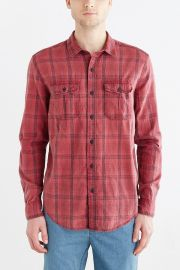 Salt Valley Acid Washed Plaid Button-Down Workshirt Red at Urban Outfitters