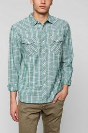 Salt Valley Delco Chambray Plaid Western Shirt at Urban Outiftters