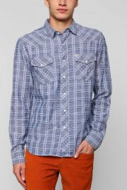 Salt Valley Delco Chambray Plaid Western Shirt in Blue at Urban Outfitters