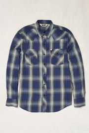 Salt Valley Shadow Plaid Western Button-Down Shirt in Blue at Urban Outfitters