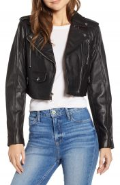 Sam Edelman Crop Leather Moto Jacket   Nordstrom at Nordstrom