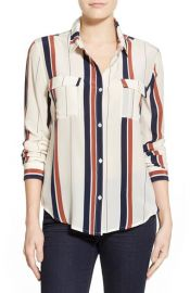 Sanctuary Stripe Silk Boyfriend Shirt at Nordstrom