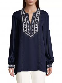 Sandi Embroidered Puff-Sleeve Silk Blouse at Saks Fifth Avenue