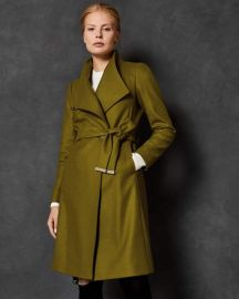Sandra Wrap Coat in Mid Green at Ted Baker