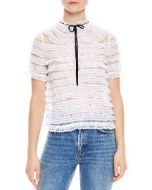 Sandro Addiction Tiered Mesh & Lace Silk Top at Bloomingdales