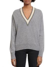 Sandro Camie Contrast V-Neck Sweater Women - Bloomingdale s at Bloomingdales