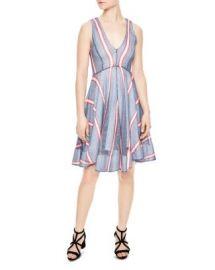 Sandro Chear Striped Mesh Dress at Bloomingdales
