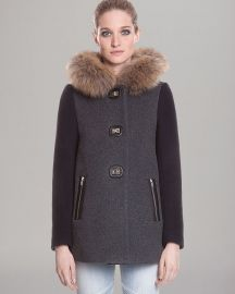 Sandro Coat - Color Block Fur Trim Hood at Bloomingdales