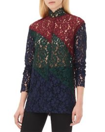 Sandro Elda Color Block Lace Top at Bloomingdales