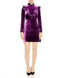 Sandro Emily Ruffled Velvet Mini Dress Women - Bloomingdale s at Bloomingdales