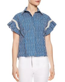 Sandro Erine Striped Ruffled-Sleeve Shirt at Bloomingdales