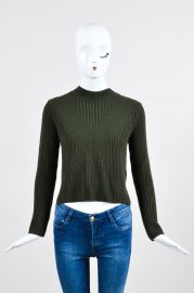 Sandro Forest Green Wool Chunky Knit Zip Back Cropped Sweater at eBay
