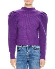 Sandro Hibou Ribbed Oversize-Shoulder Wool Sweater Women - Bloomingdale s at Bloomingdales