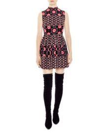 Sandro Honeycomb Printed Silk Dress at Bloomingdales