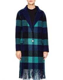 Sandro Joie Fringed Buffalo Plaid Coat Women - Bloomingdale s at Bloomingdales