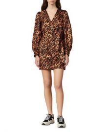 Sandro Lunas Abstract Leopard-Print Silk Mini Dress Women - Bloomingdale s at Bloomingdales
