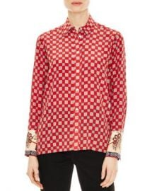 Sandro Nella Contrast-Cuff Button-Down Shirt Women - Bloomingdale s at Bloomingdales