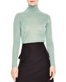 Sandro Ornements Metallic Sparkling Mock-Neck Sweater at Bloomingdales