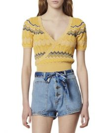 Sandro Salomon Crossover Geo-Pattern Knit Cropped Top Women - Bloomingdale s at Bloomingdales