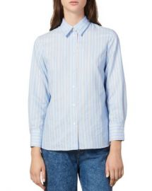 Sandro Sielle Pleated-Back Striped Shirt Women - Bloomingdale s at Bloomingdales