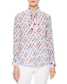 Sandro Space Tie-Neck Printed Silk Shirt at Bloomingdales