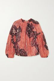 Sanya printed fil coupe silk and Lurex-blend blouse at Net A Porter