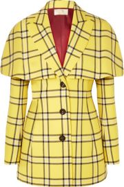 Sara Battaglia - Cape-effect checked wool blazer at Net A Porter