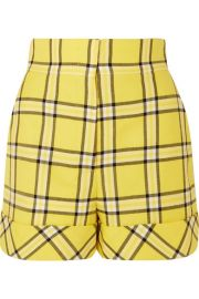 Sara Battaglia - Checked wool shorts at Net A Porter