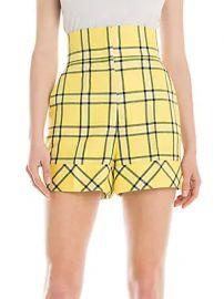 Sara Battaglia - High-Waist Check Shorts at Saks Fifth Avenue